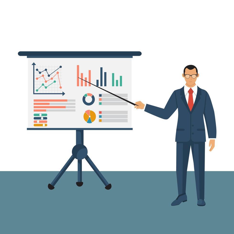 personaje de empresario con tablero de presentación de infografías vector