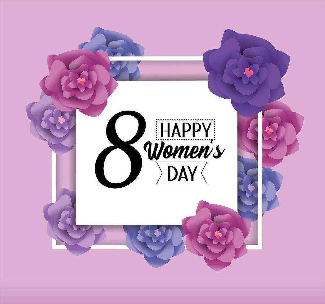 tarjeta de felicitación para mujer con flores vector