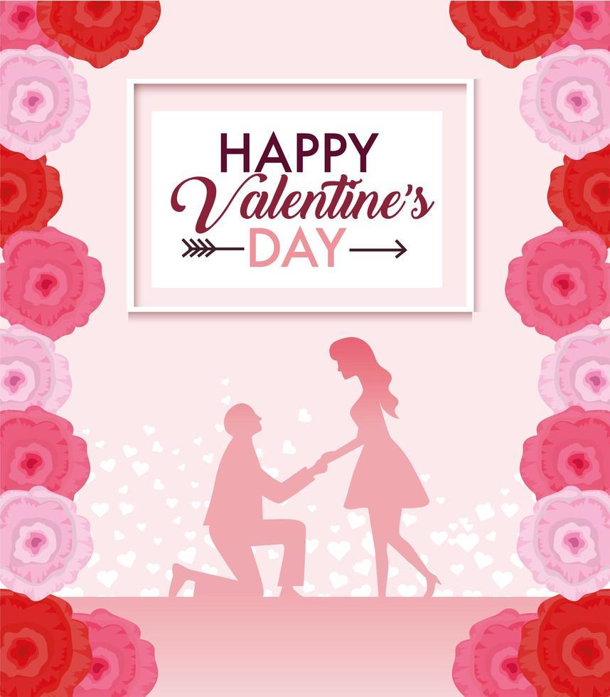 decoração de flores com casal para o dia dos namorados vetor