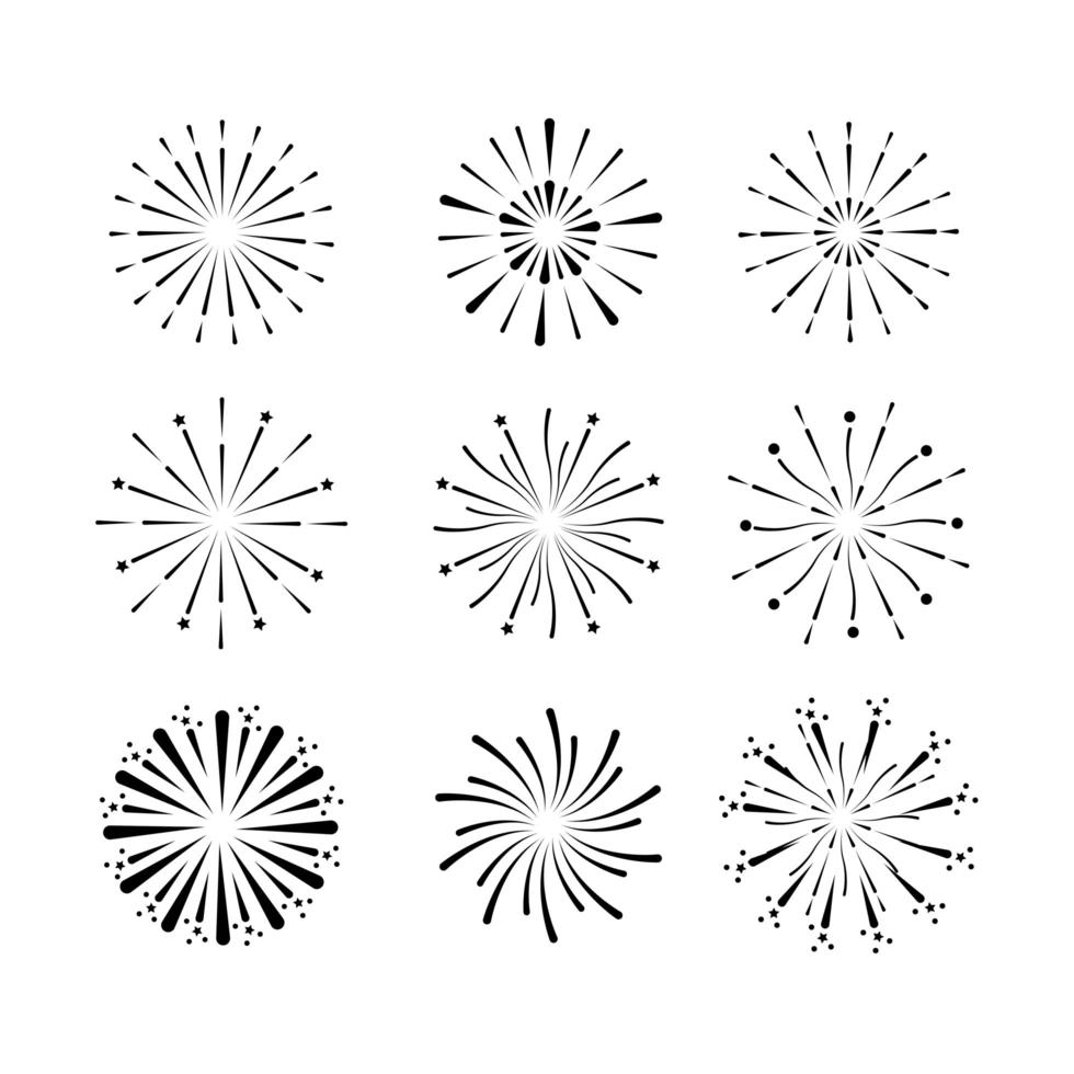 Fireworks outline icon set vector