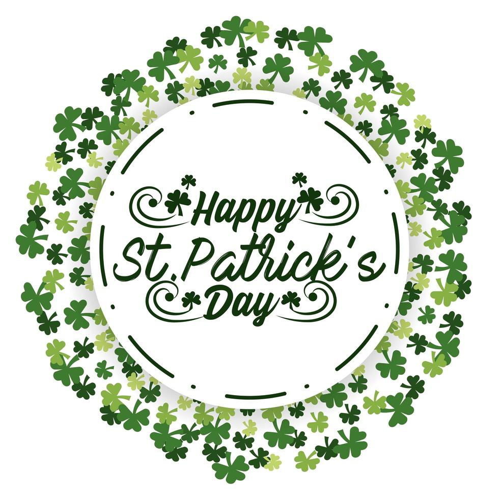 St. Patrick day round sticker with clovers vector