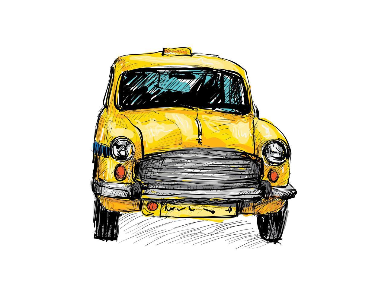 Boceto a color de un viejo taxi vector