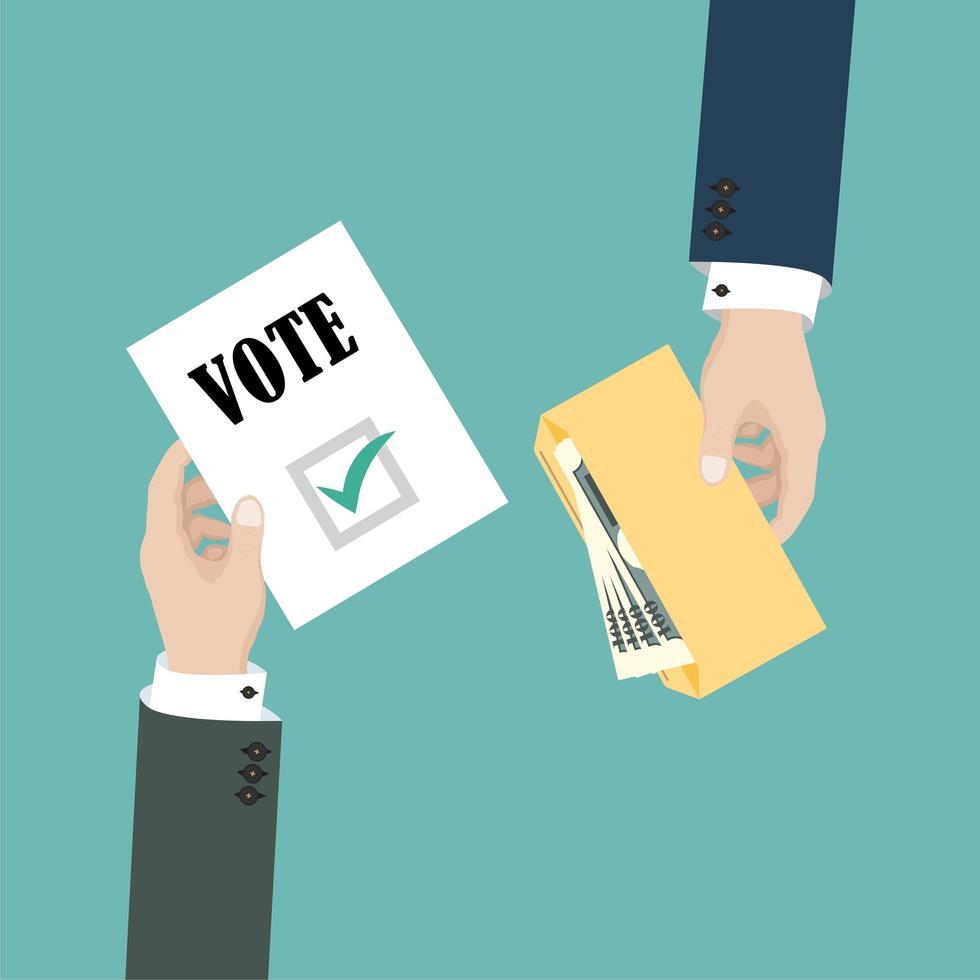 conceito de suborno de votos vetor