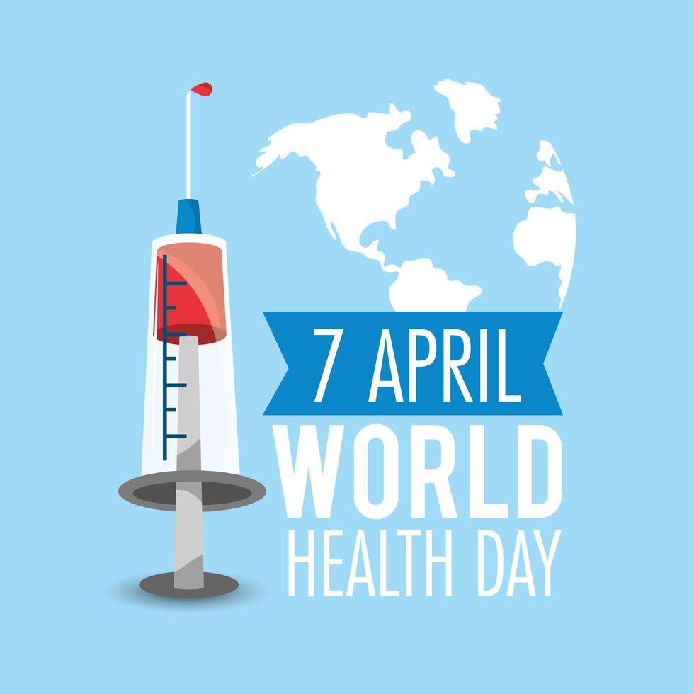dia mundial da saúde com seringa vetor