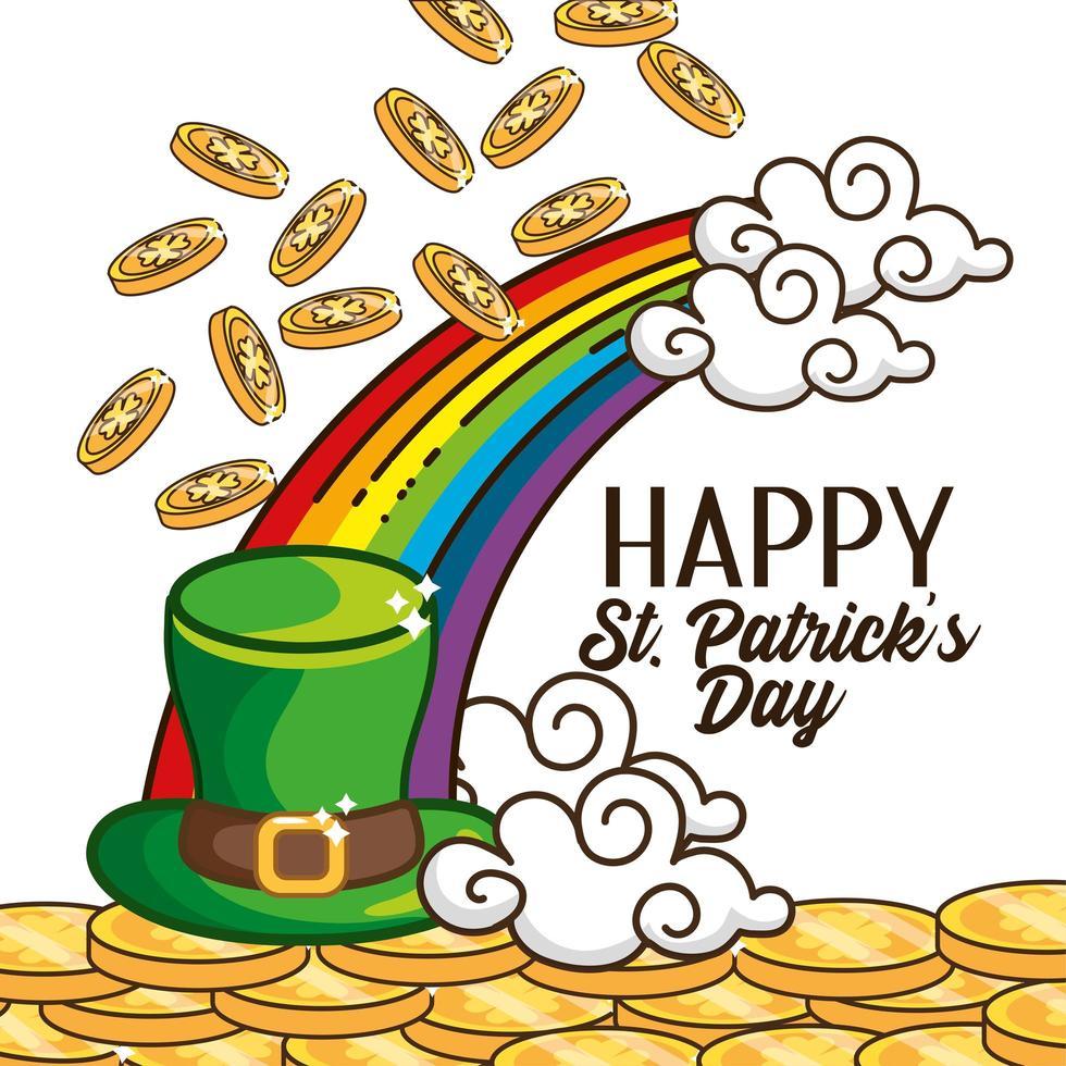 st. banner do dia patrick com chapéu irlandês e arco-íris vetor