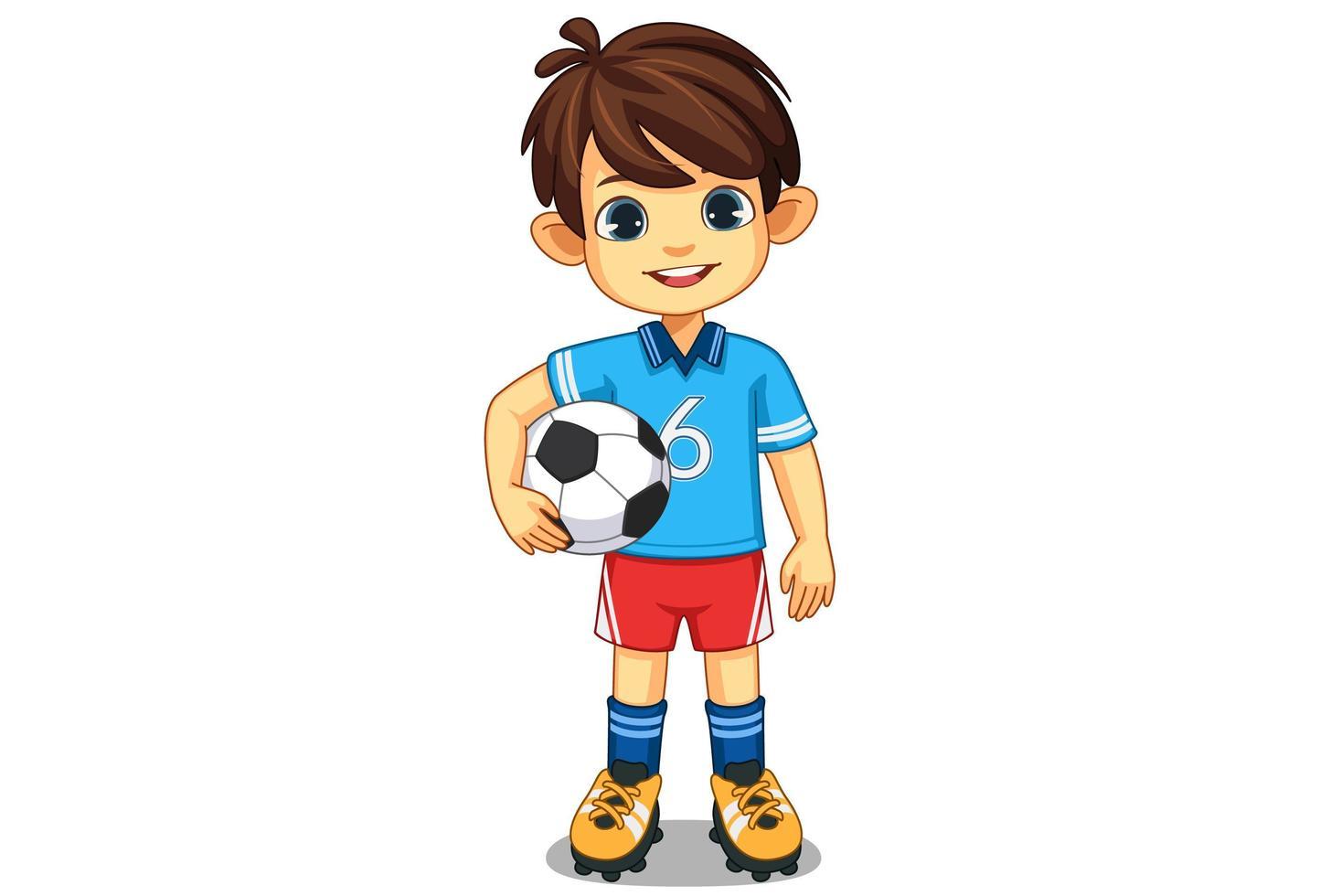 pequeño jugador de fútbol lindo vector