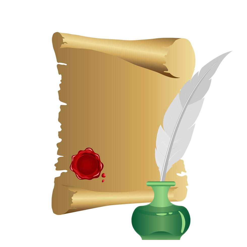 rolo de papiro com caneta de pena vetor