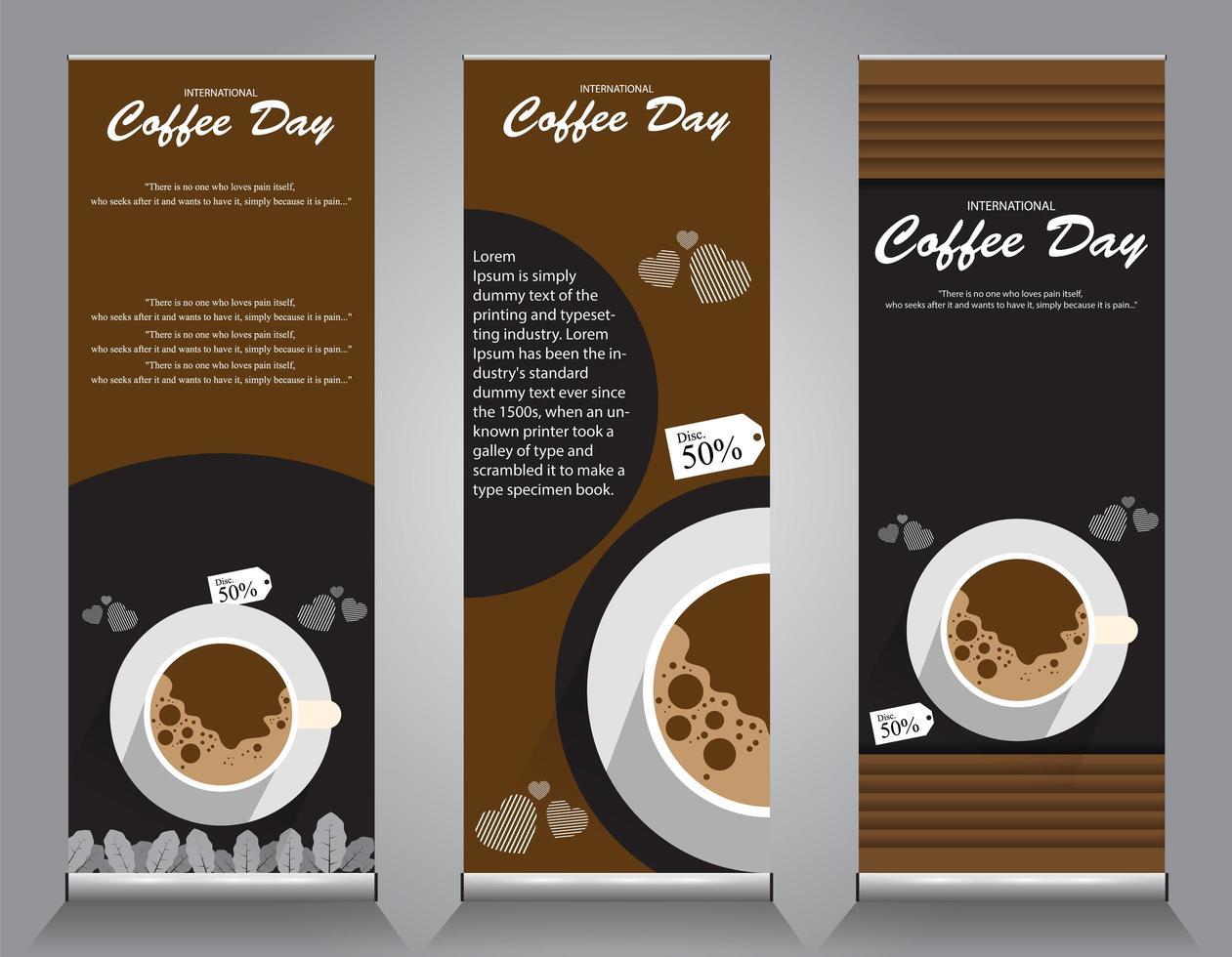 Roll up banner design para promociones de café. vector
