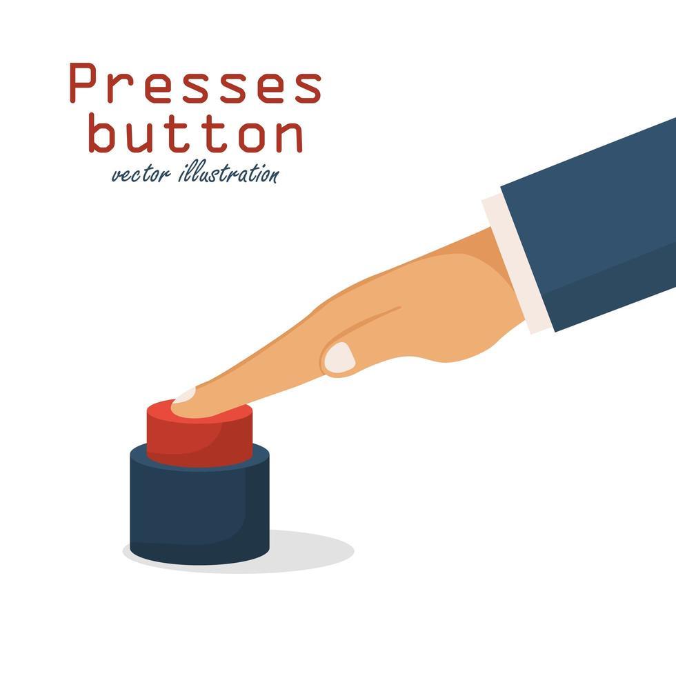 mano presionando un botón rojo vector