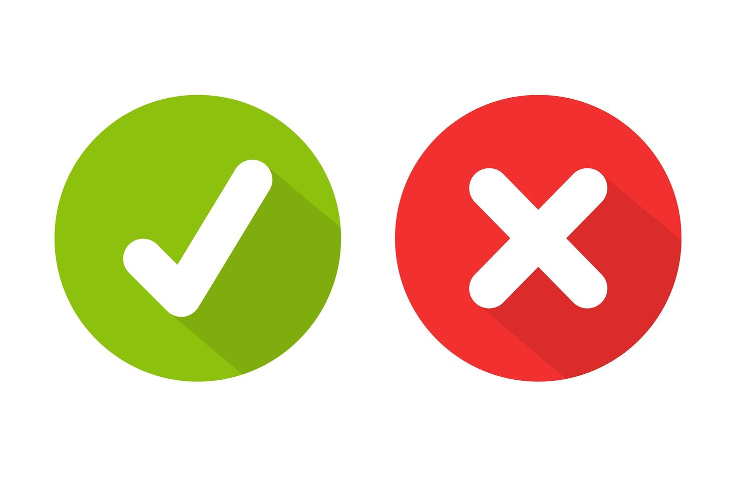 marcas de verificación verdes y rojas vector