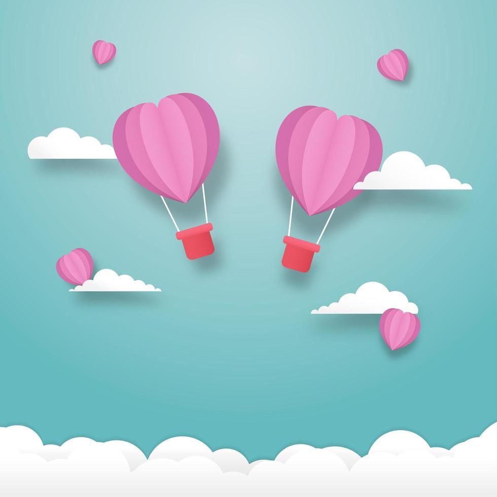 balões de coração voando no céu vetor
