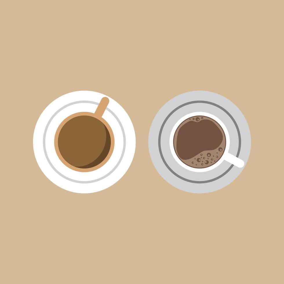 xícaras de café vistas de cima vetor
