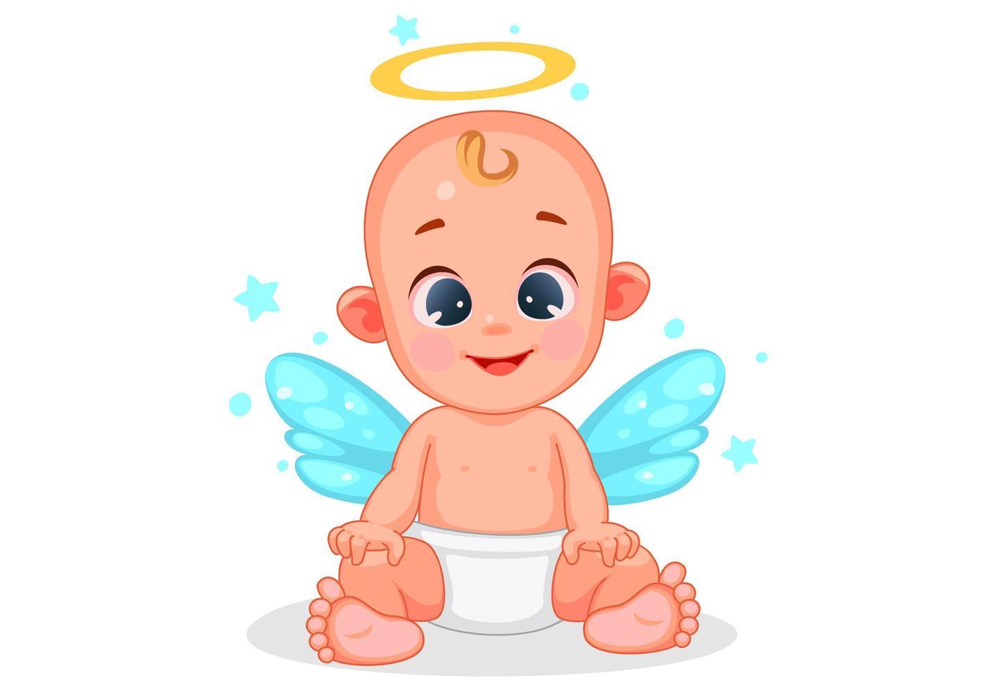 lindo ángel bebé con hermosa expresión vector