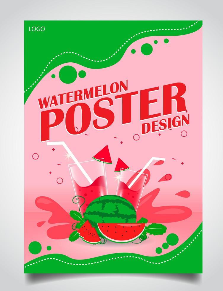 pôster para suco de melancia vetor