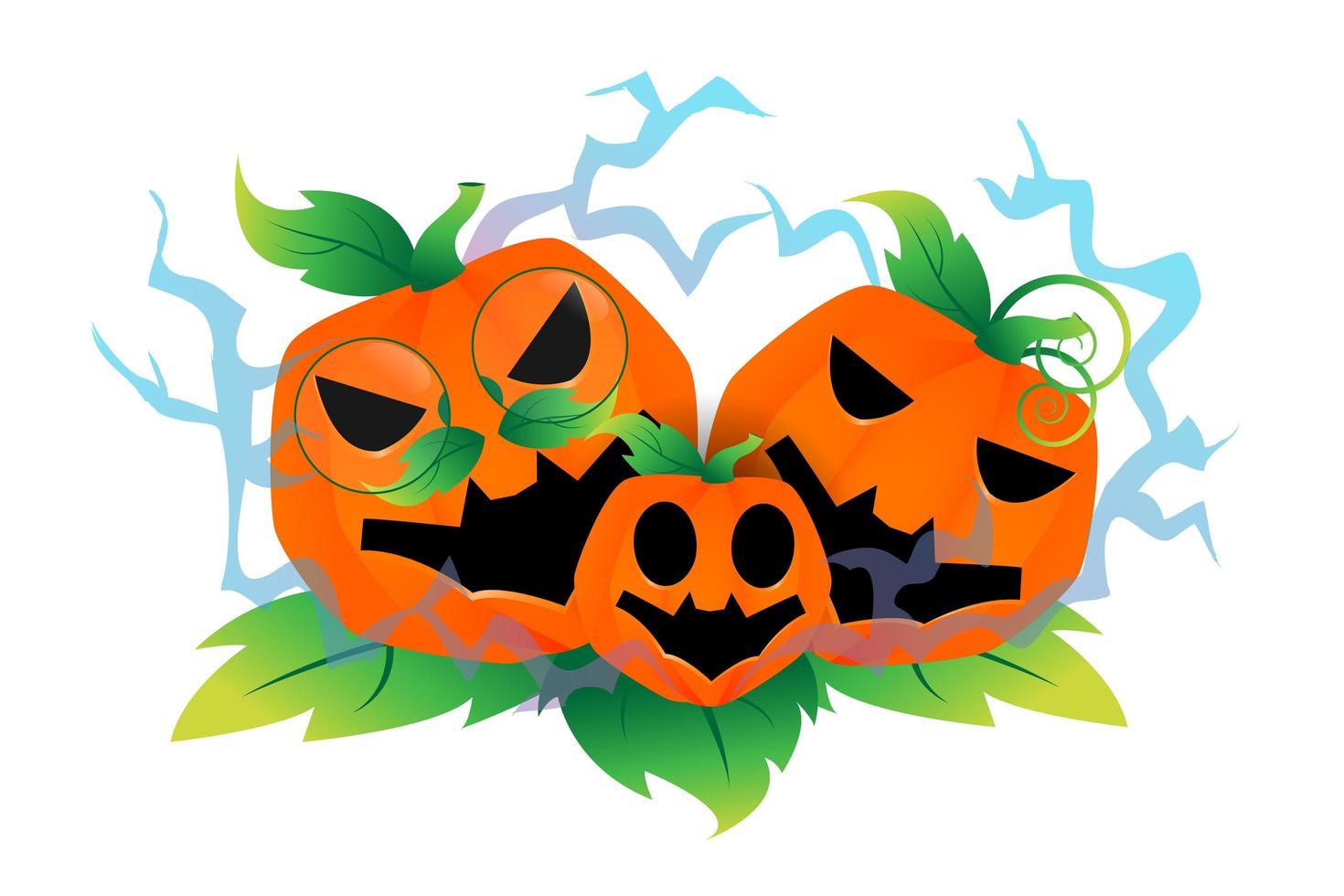 família abóbora de halloween vetor