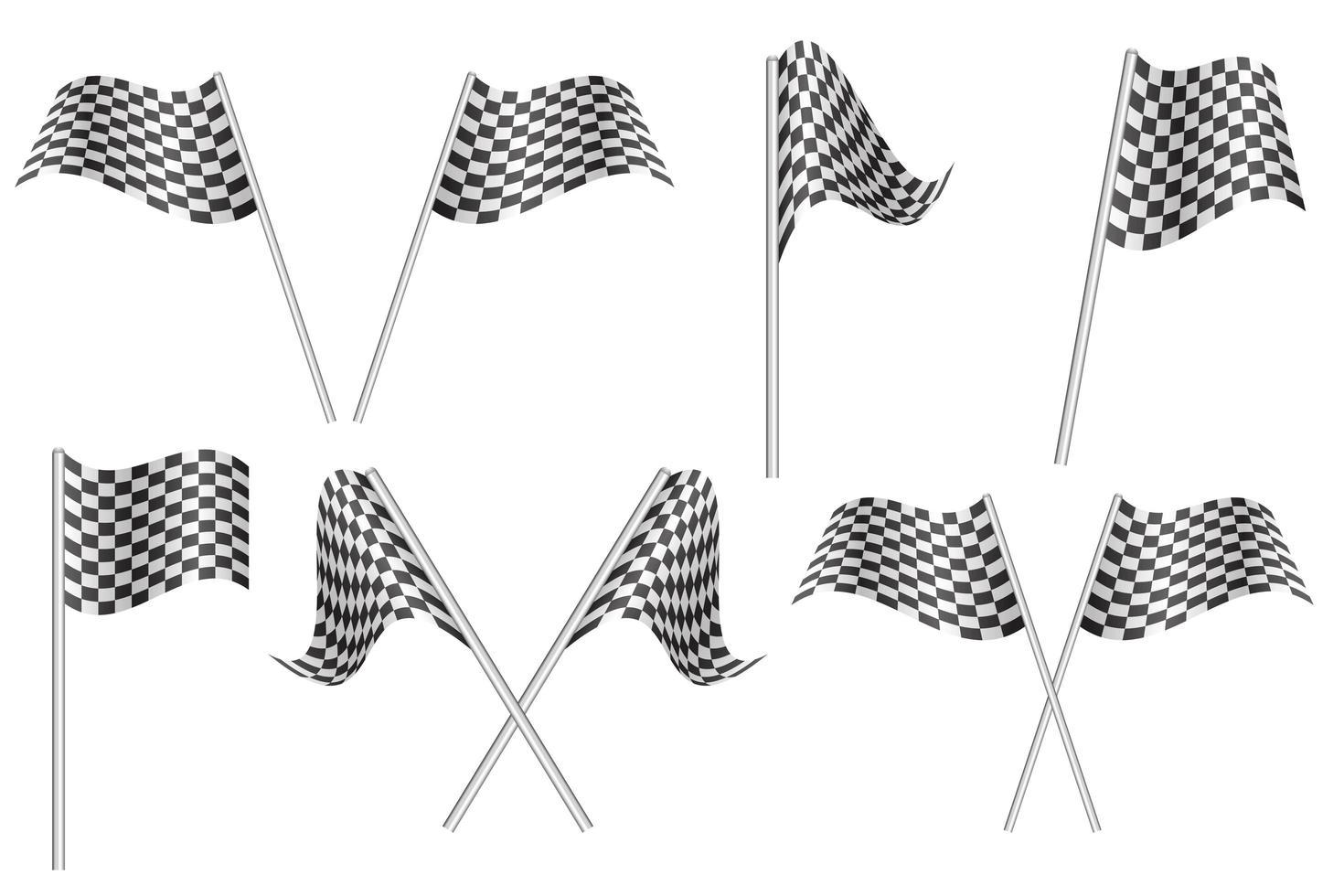 conjunto de ícones de bandeiras quadriculadas de corrida vetor