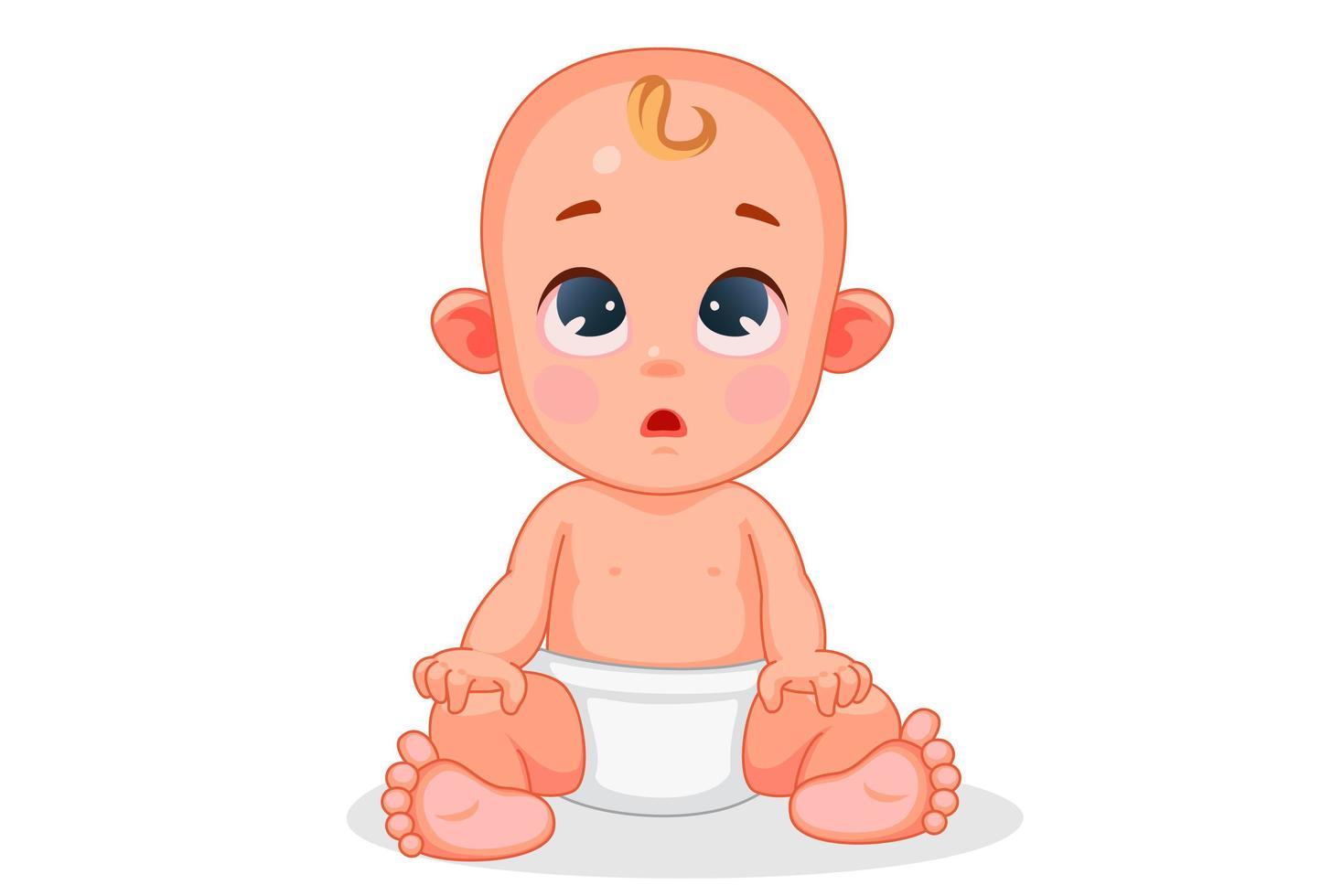 bebê fofo com expressão diferente vetor