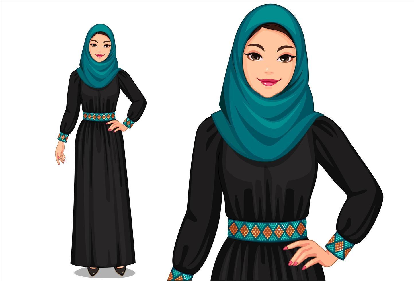 mujeres musulmanas en traje tradicional vector