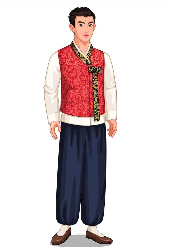 homem da Coreia do Sul em traje tradicional vetor