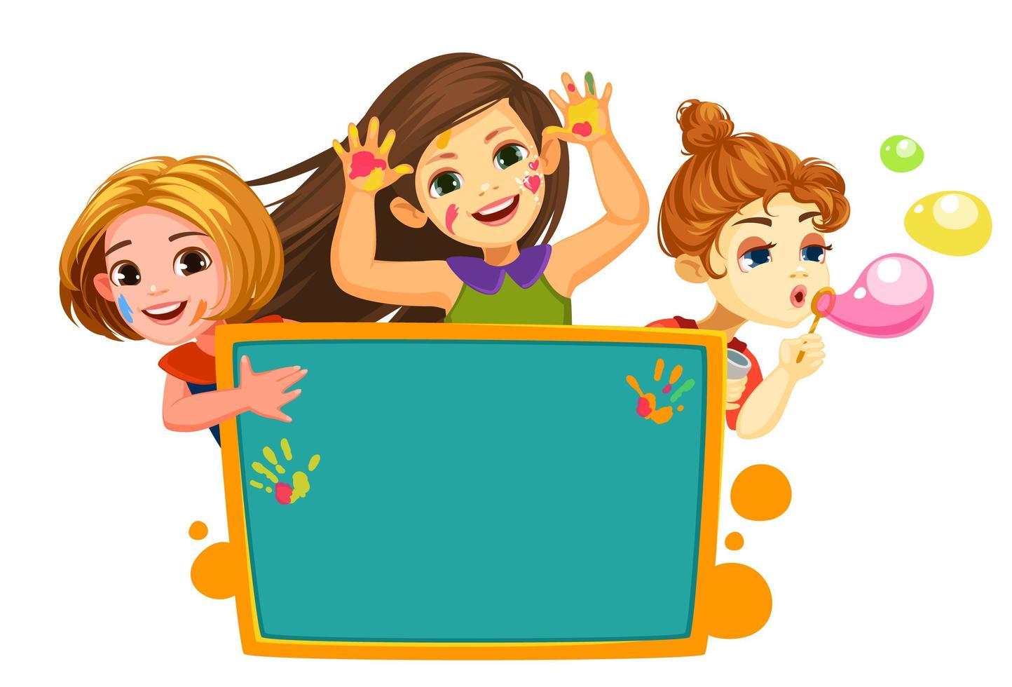 tres niñas felices con tablero en blanco vector