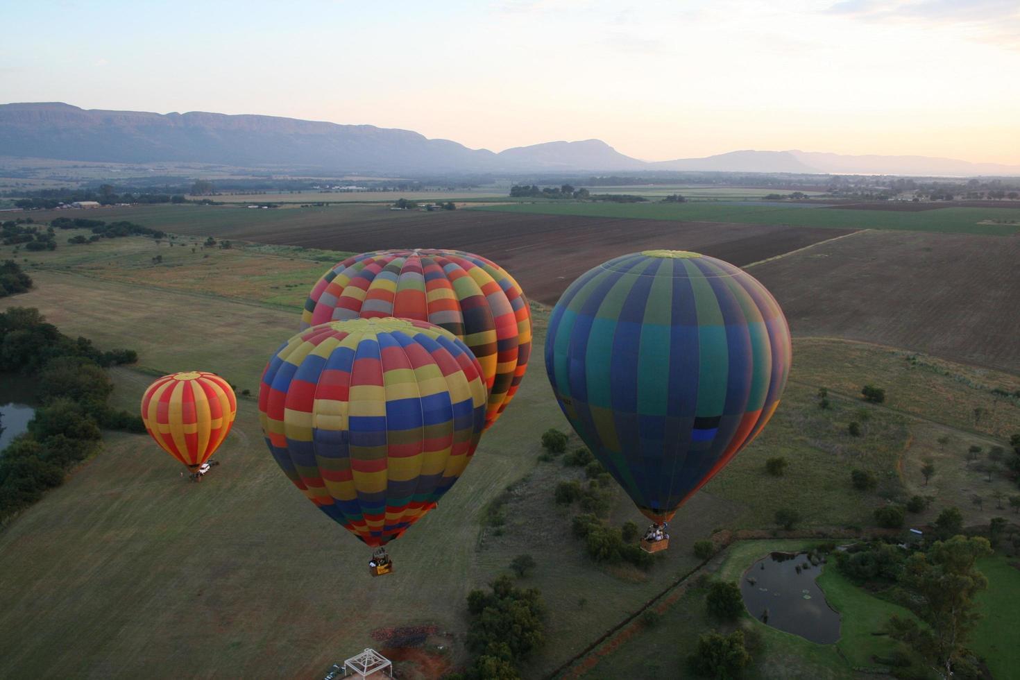 Hot air balloons at take-off photo