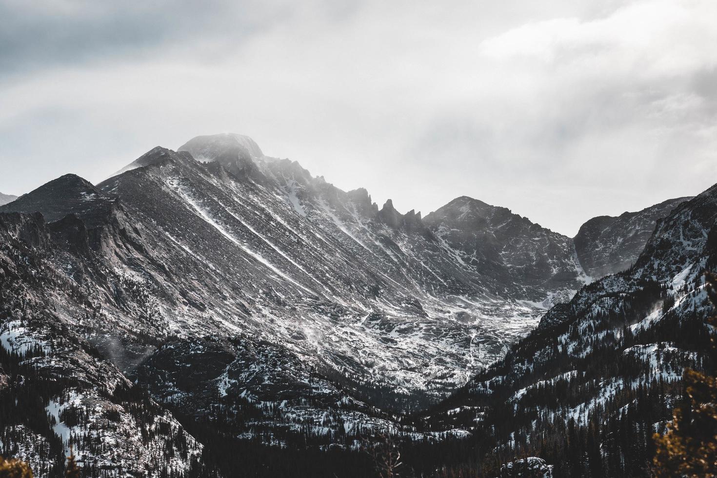 Snowy rocky mountain photo