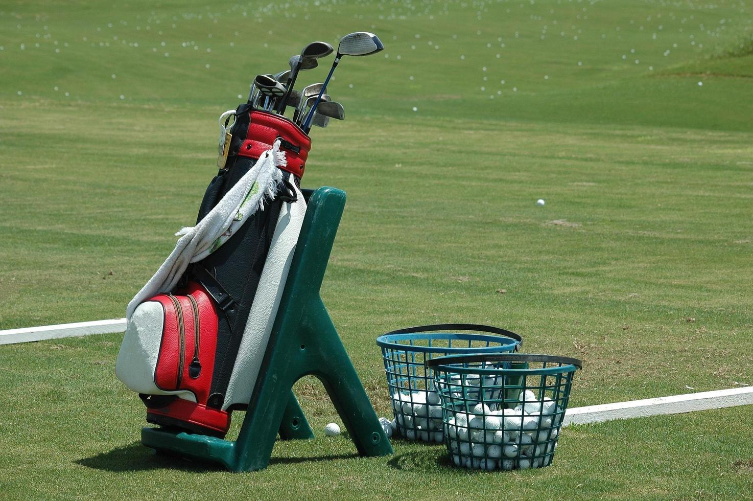 Golf bag and clubs photo
