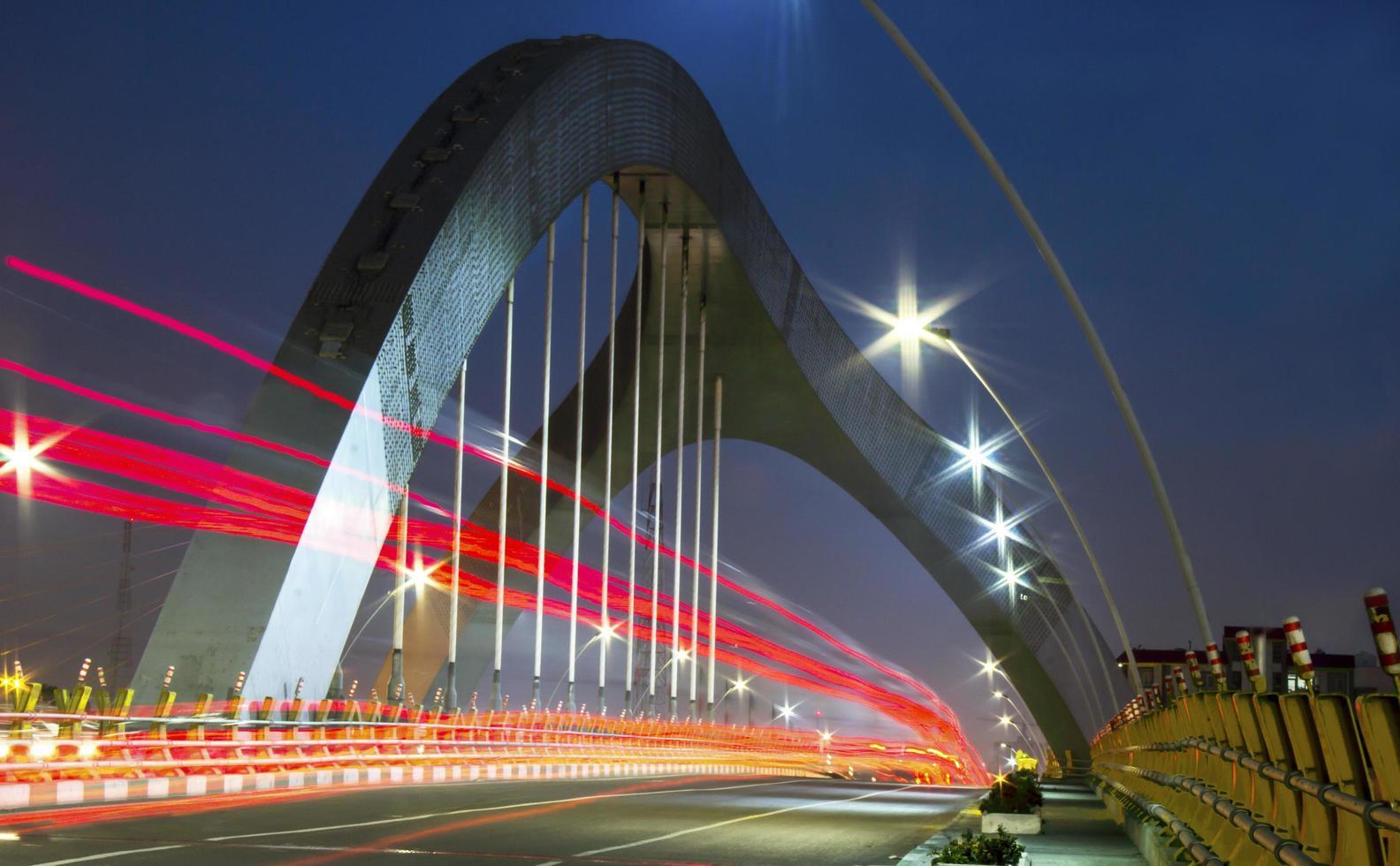 Bridge structure at night photo