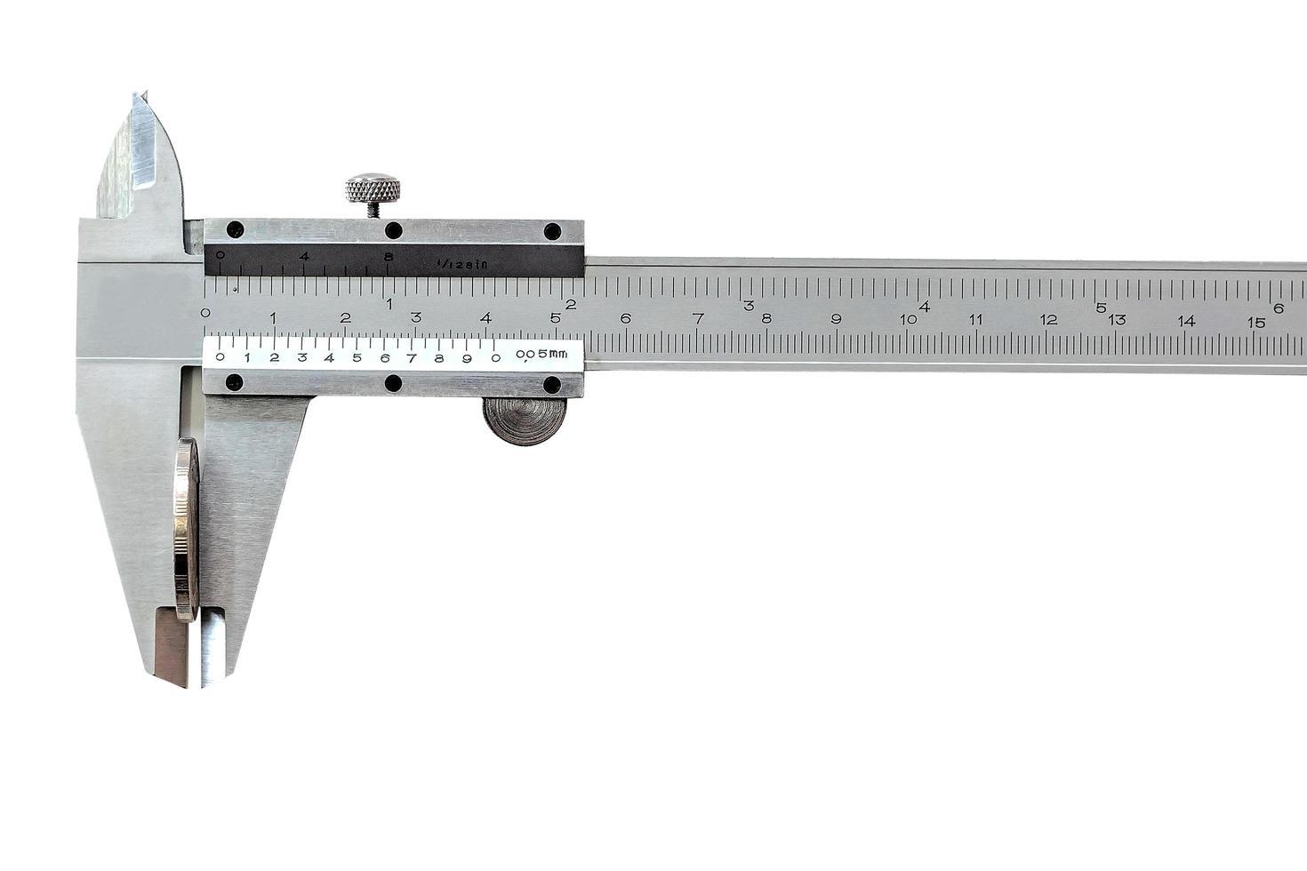 escala vernier em um fundo branco foto
