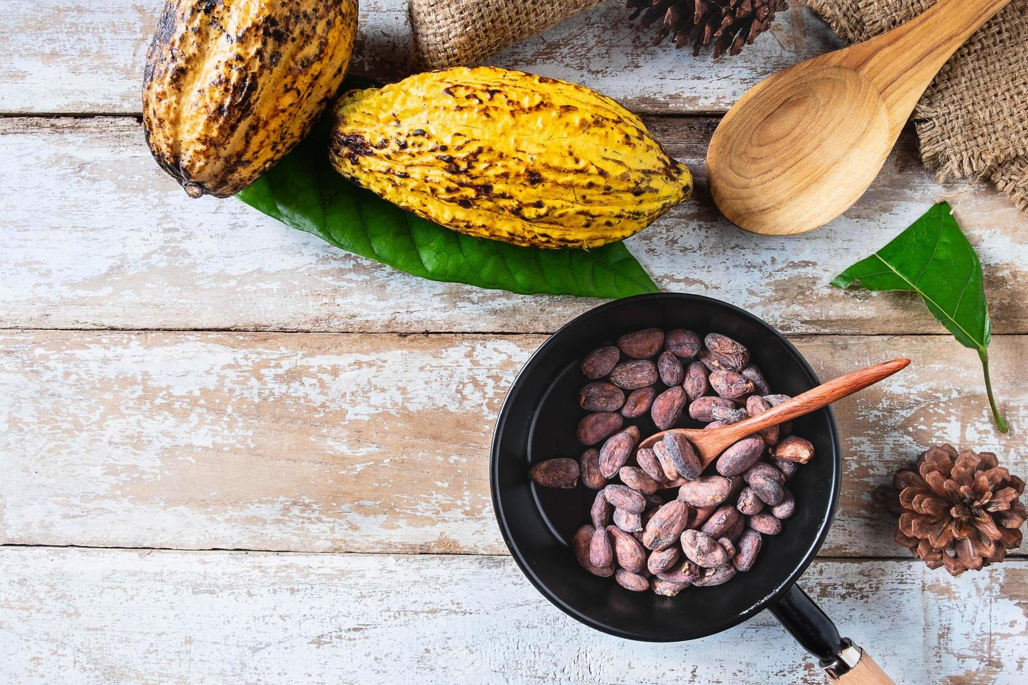rauwe cacaobonen en cacaopeulen foto