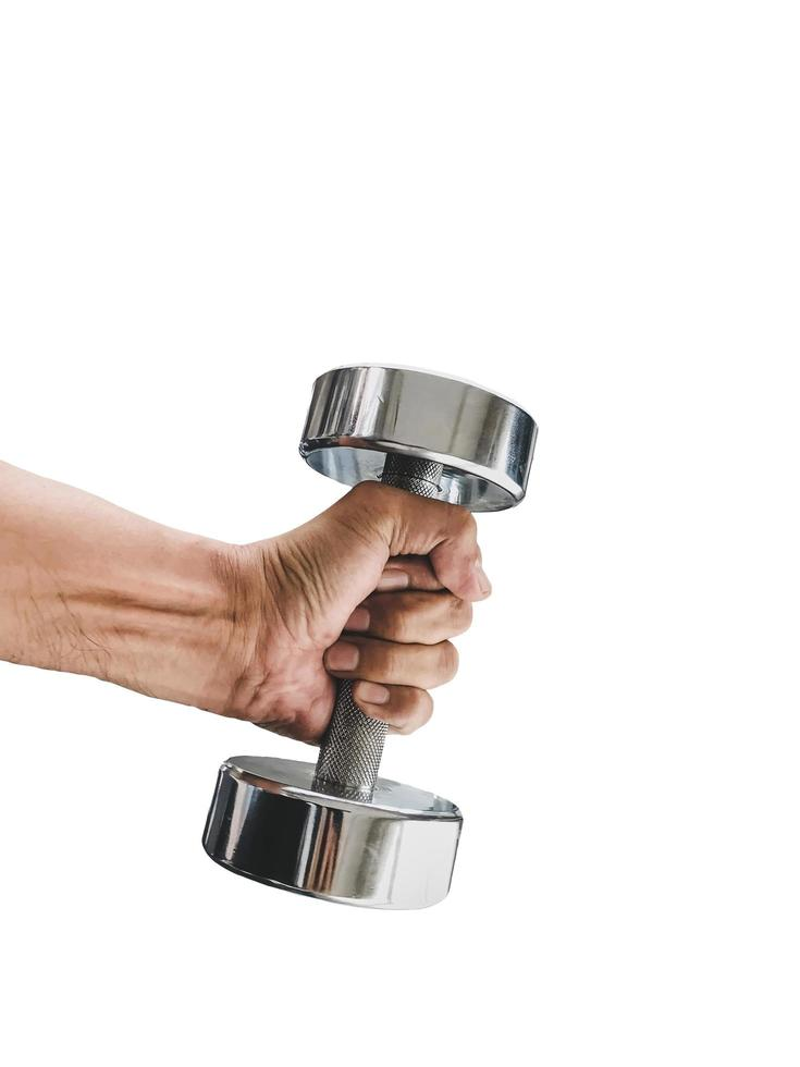 Close-up of a hand holding a dumbbell photo