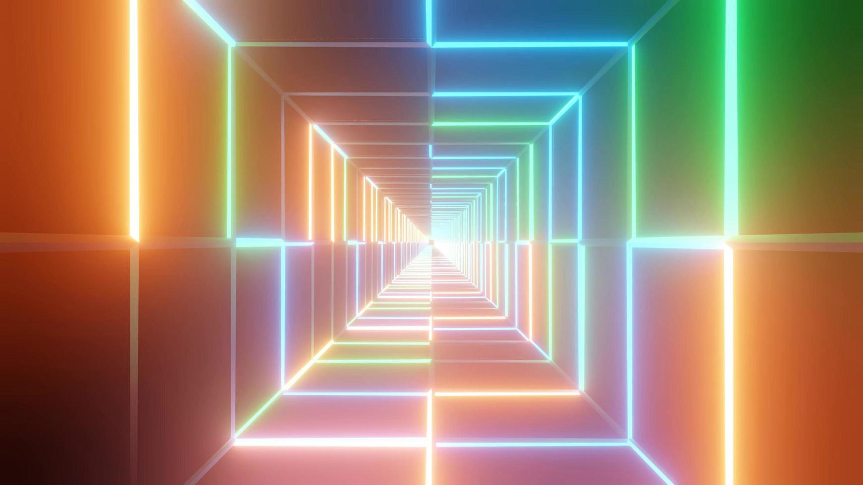 Spectral wall neon space cube, 3D illustration background photo