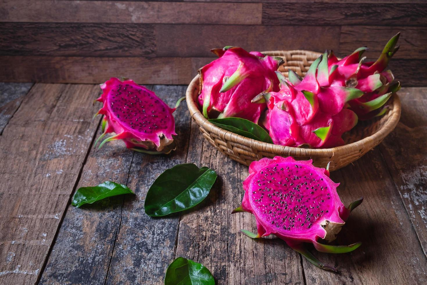 Dragon fruit In a basket photo