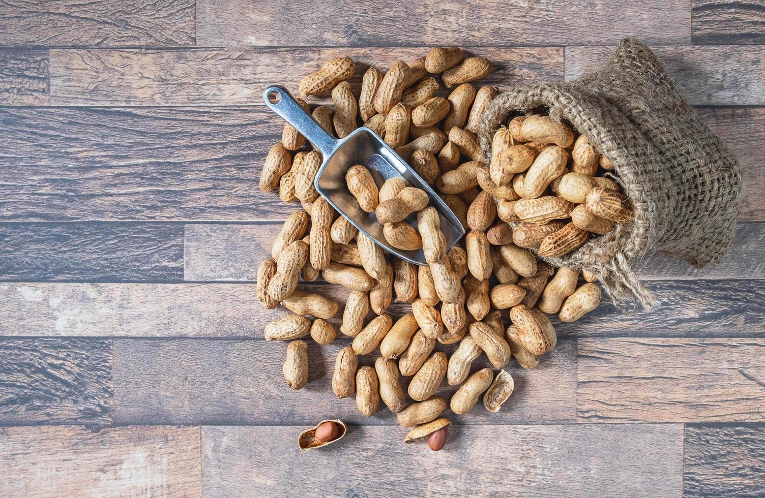 Peanuts in sackcloth photo
