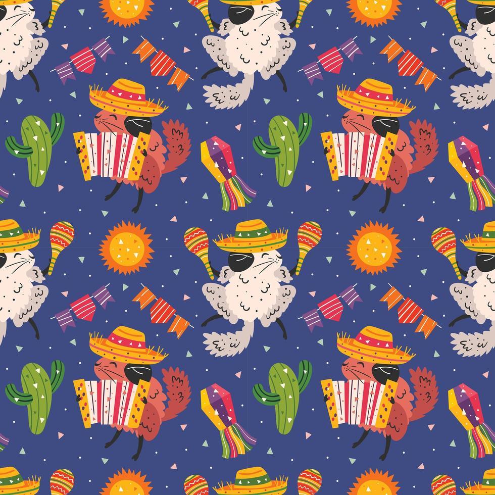 México feriado padrão sem emenda de chinchilas fofas vetor