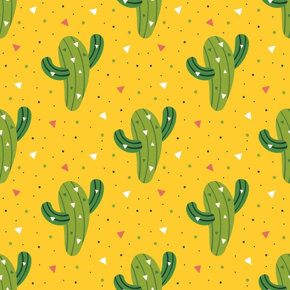 pequeño cactus verde lindo en patrón transparente amarillo vector