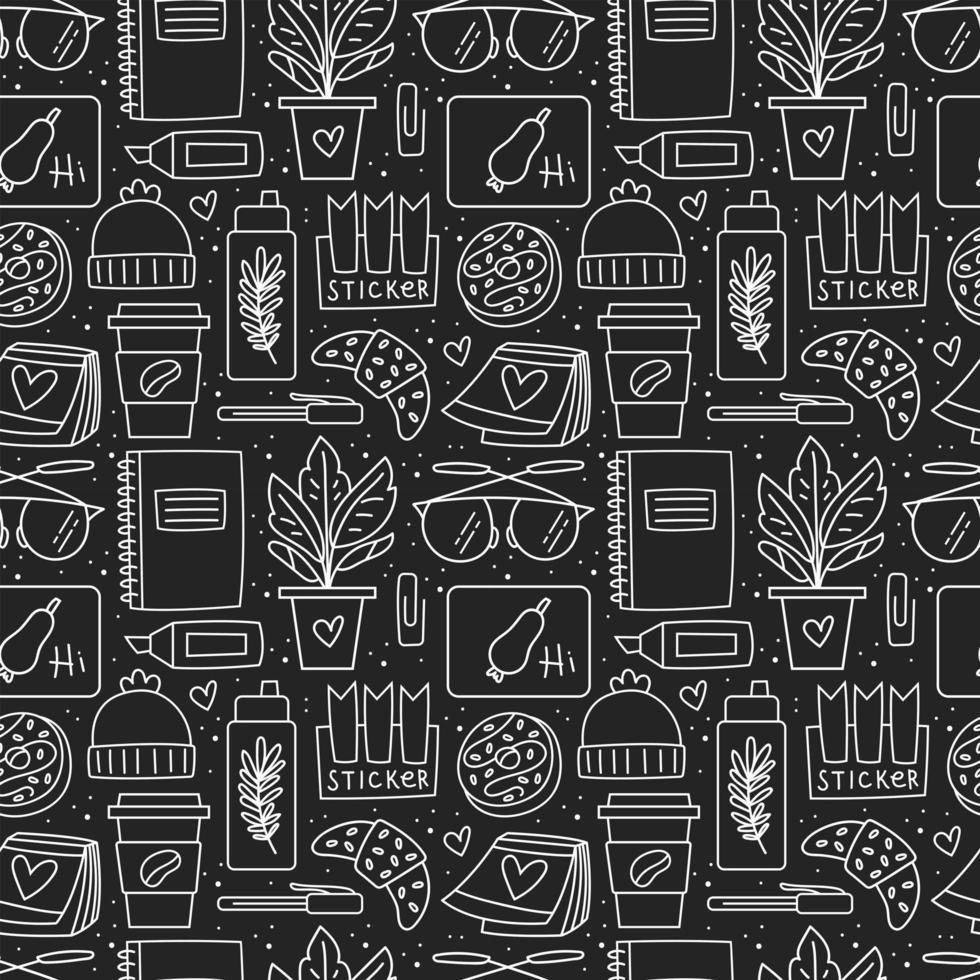 Papelería de oficina en blanco y negro y patrón sin costuras. vector