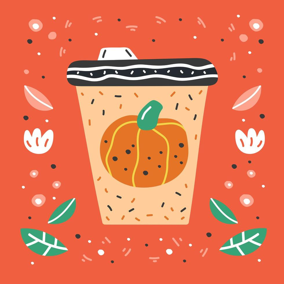 Pumpkin spice latte hand drawn coffee cup vector