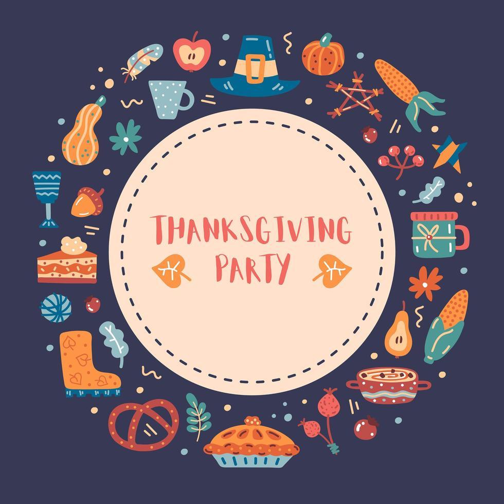 Ação de Graças mão desenhada borda redonda, moldura vetor