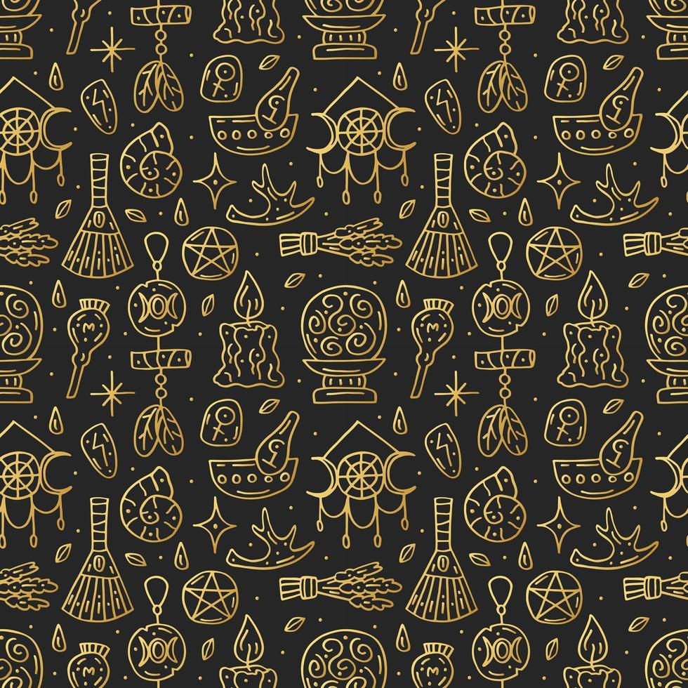 brujería, dorado, garabato, mano, dibujado, seamless, patrón vector