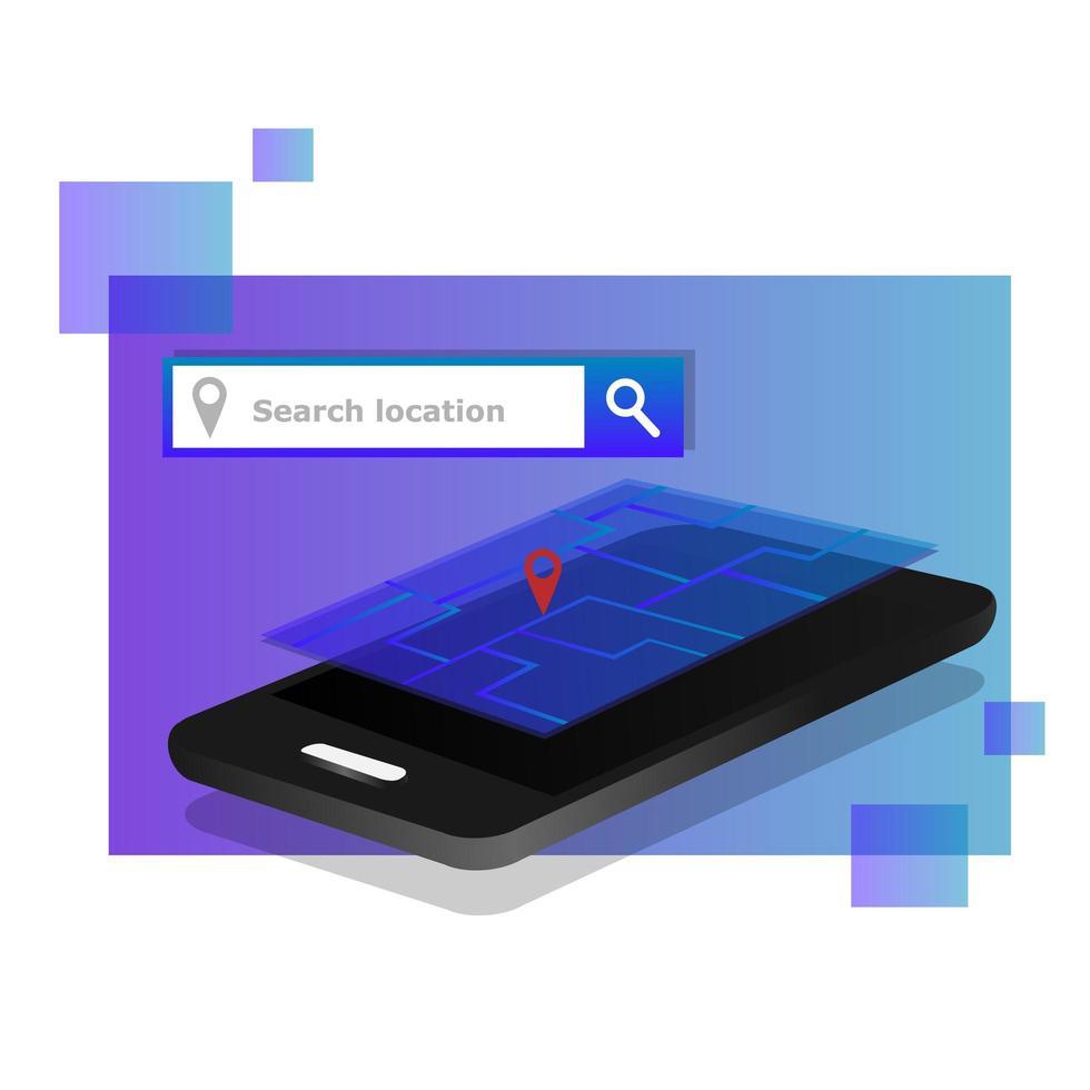 mapas de navegación isométrica o concepto de ubicación de búsqueda vector