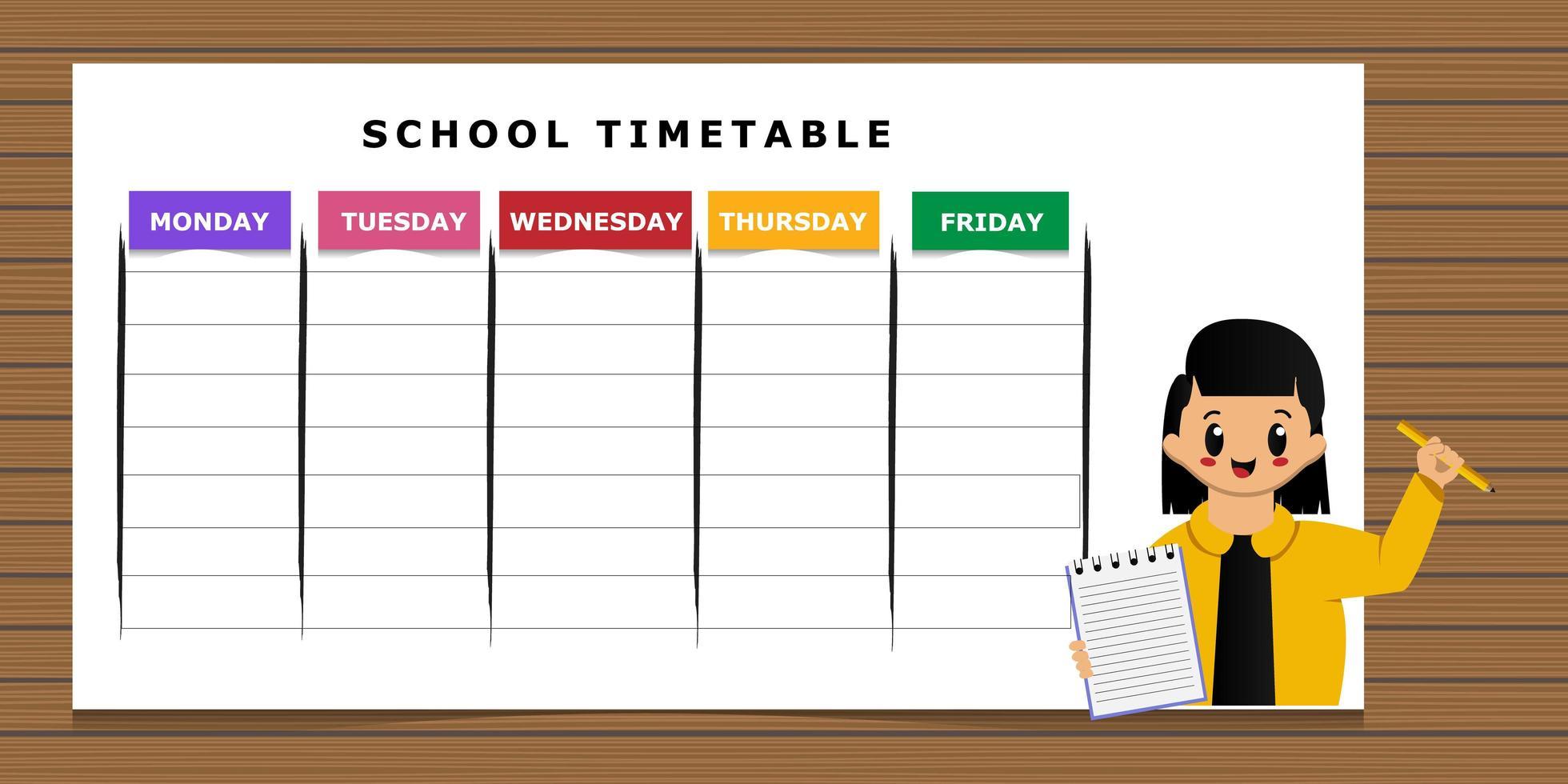 horario escolar con plantilla de dibujos animados de niña vector