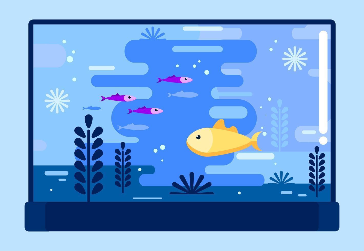 aquário com peixes diferentes em estilo simples vetor