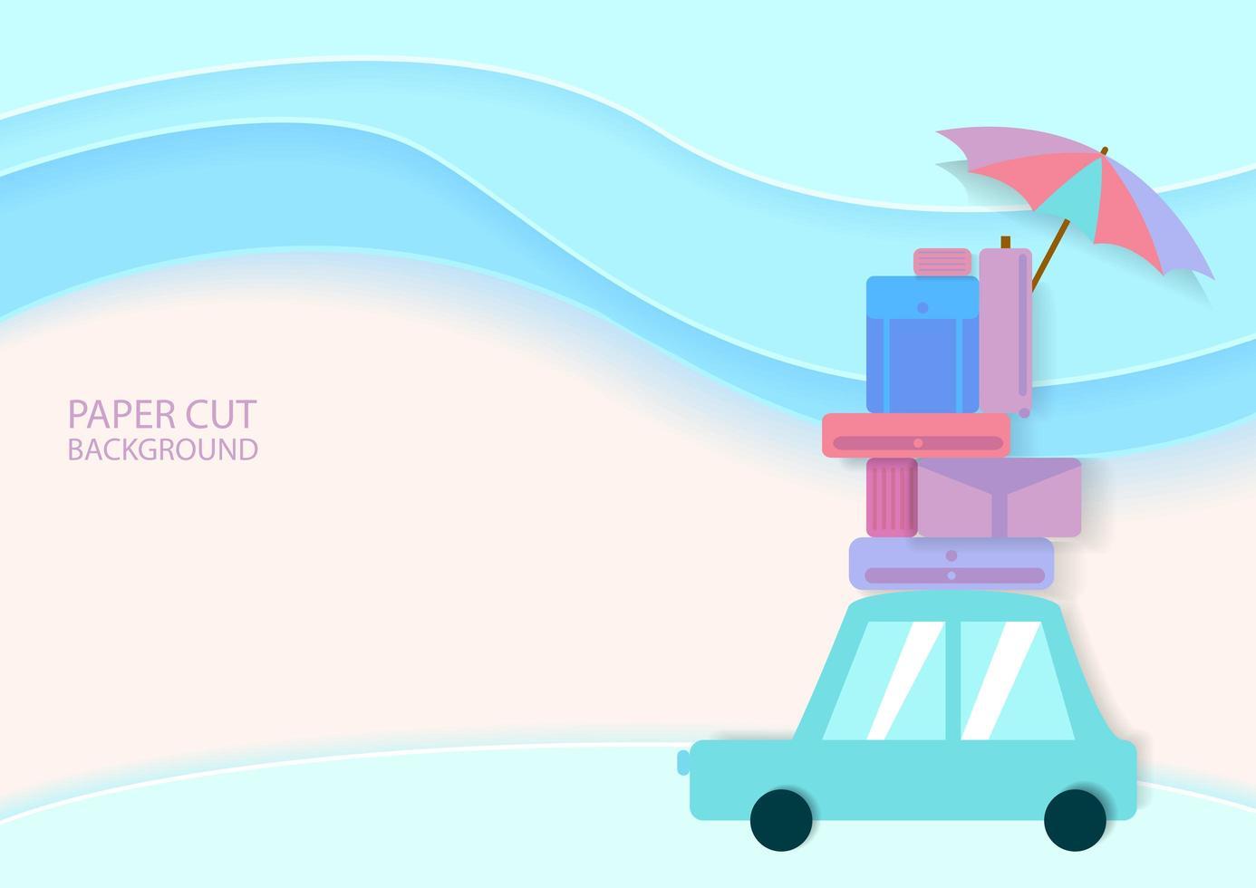 carro estilo corte de papel com bagagem em cores pastel vetor
