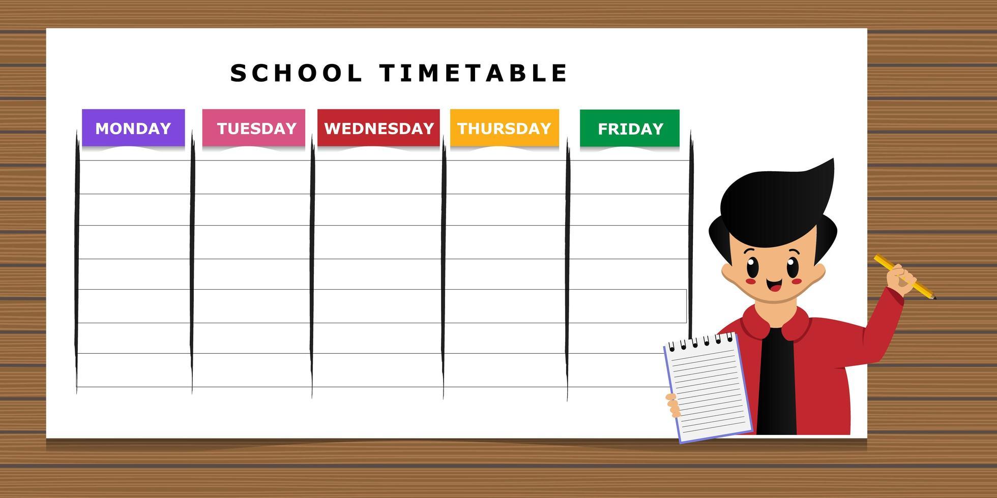 calendário escolar com modelo de desenho animado de menino vetor