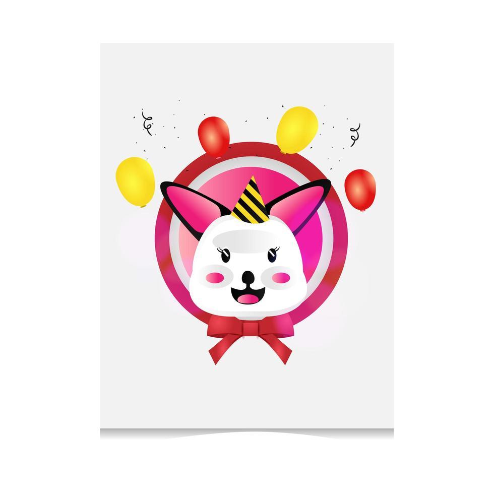 tarjeta de felicitación de conejito de dibujos animados dibujados a mano vector