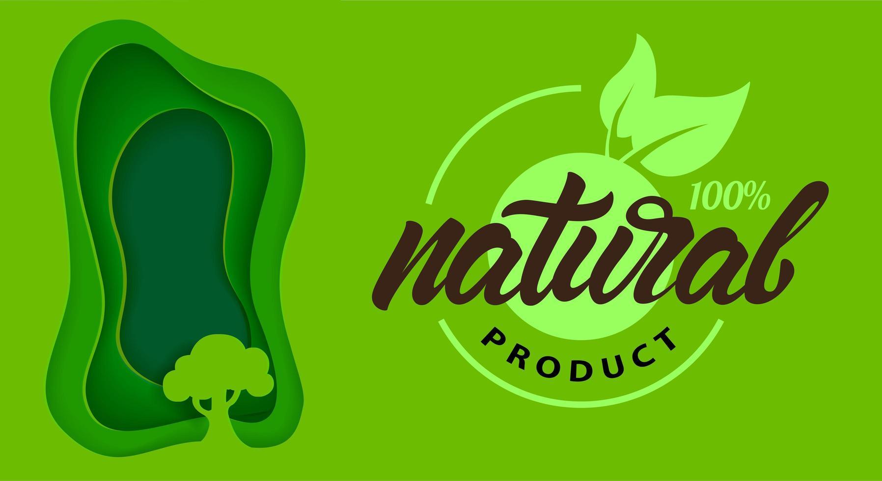 pôster abstrato verde natural com árvores em estilo de papel vetor