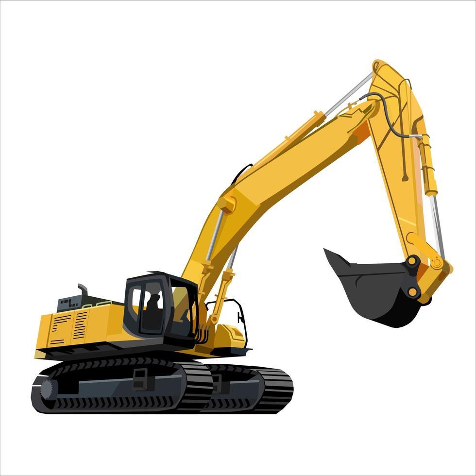 caminhão de construção de escavadeira vetor