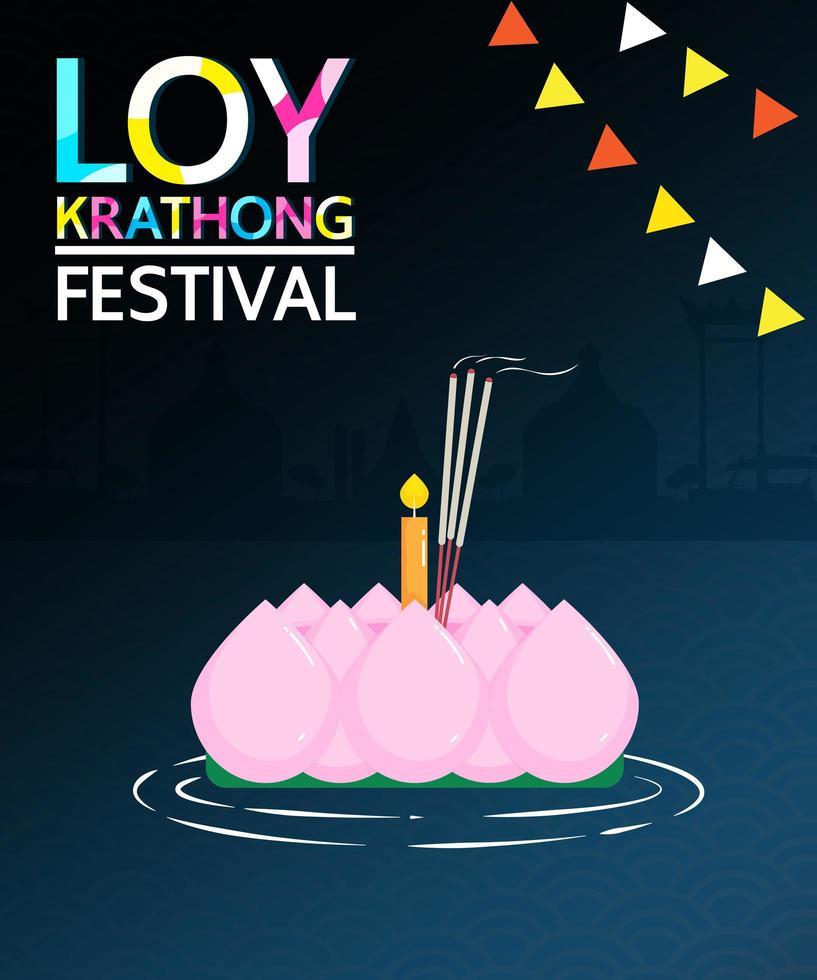 diseño del festival loy krathong con vela en el agua vector