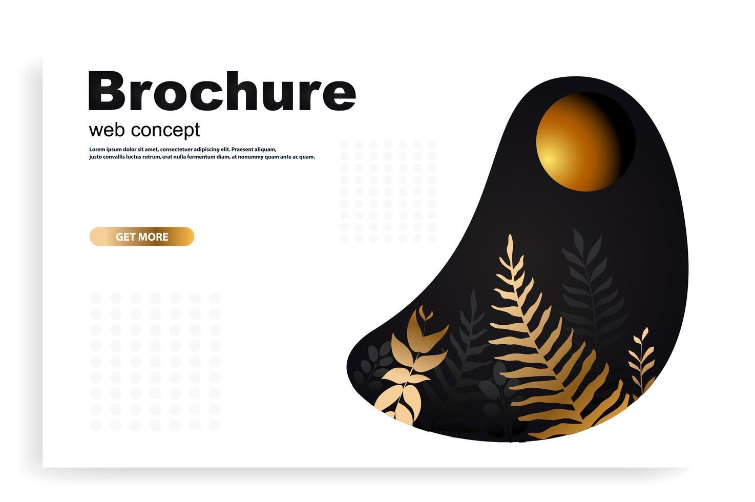 conceito de web ou brochura com folhas de ouro vetor